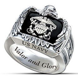 Sterling Silver US Navy Ring