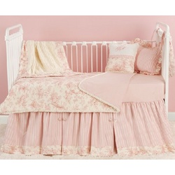 Pink Toile Toddler Bedding