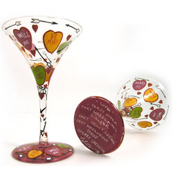 Love Candy Hearts Martini Glass