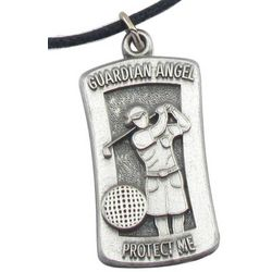 Personalized Guardian Angel Protect Me Golf Pendant Necklace