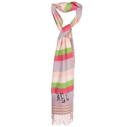 Personalized Pink Stripe Cashmere Feel Print Scarf