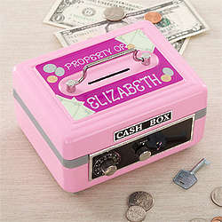 Pink Personalized Girl's Cash Box
