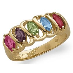 Mother's Marquise Birthstone Ring