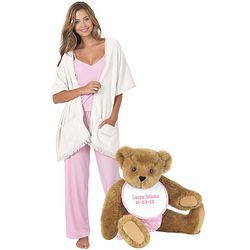 Baby Teddy Bear Pink & White Cuddle Up Wrap