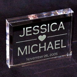 Engraved Clear Wedding Cake Topper