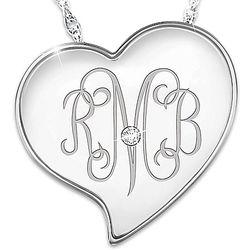 Daughter's Engraved Monogram Diamond Heart Pendant