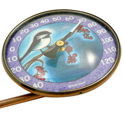 Copper Window Thermometer with Chickadee Bird