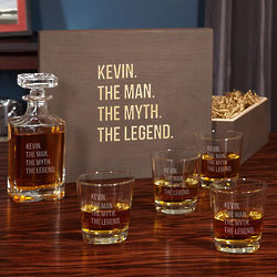 The Man, the Myth, the Legend Personalized Decanter & Glasses