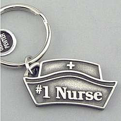 Engraved #1 Nurse Pewter Keyring