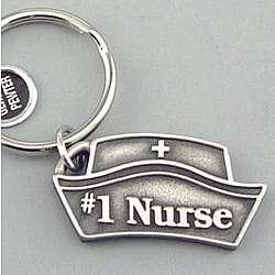 Engraved #1 Nurse Pewter Keyring