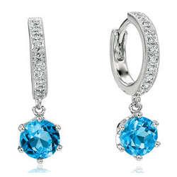 14k White Gold Round Blue Topaz Drop Diamond Earrings