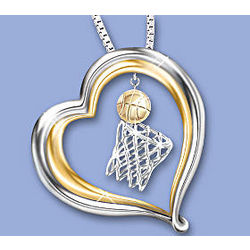 Sports Pride Sterling Silver Heart Shaped Pendant