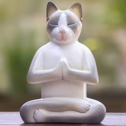 Cat in Meditation Wood Statuette