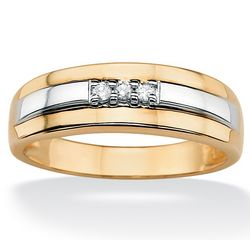 Men's Gold Over Sterling Silver Triple Diamond Tutone Band