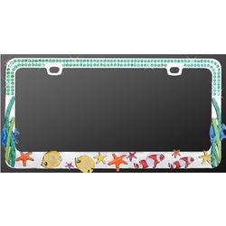 Ocean Fish Blue Diamond License Plate Frame