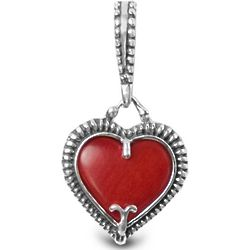 Red Coral Heart Charm