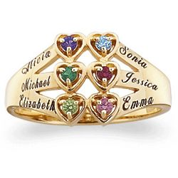 Personalized Family Birthstone Hearts Name Ring