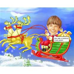 Santa's Sleigh Ride Caricature Art Print