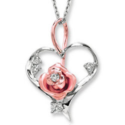 Two Tone Gold Diamond Rose Bud Heart Pendant