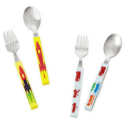 Kid's Transportation Cubetensils Fork and Spoon