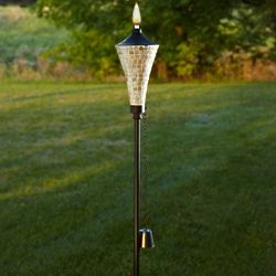 Cream Mosaic Garden Torch