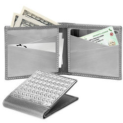 RFID Blocking Steel Herringbone Bifold Wallet