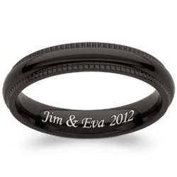 Black Titanium Polished Milgrain Engraved Slim Band