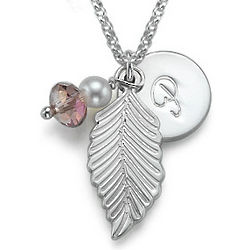 Personalized Initial Leaf Pendant Necklace