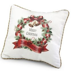 Merry Christmas Wreath Pillow
