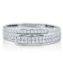 Cubic Zirconia Sterling Silver Half Woven Fashion Right Hand Ring