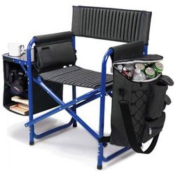 Blue Portable Outdoor Fusion Chair with Side Attachments