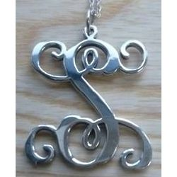 Vermont Made Sterling Silver Vine Initial Pendant