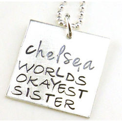 Personalized World's Okayest Sister Necklace