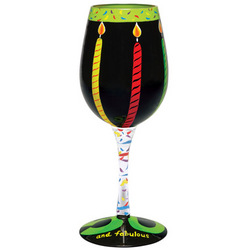 50 and Fabulous Hand Painted Wine Glass