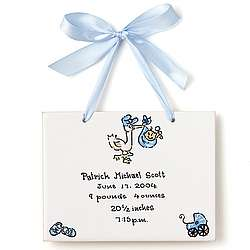 Stork Personalized Baby Tile for a Boy