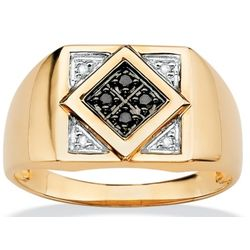 10k Gold Black and White Diamond Men's Ring