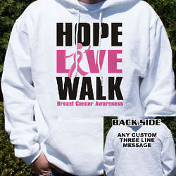 Personalized Breast Cancer Walk Hooded Sweatshirt