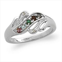 Sterling Silver Mother's Birthstone Ring with Diamond Accent