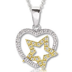 14K Two Tone Gold Diamond Heart and Star Necklace