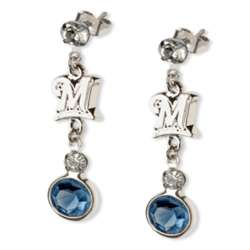 Crystal Earrings with Milwaukee Brewers Logo Charm