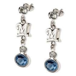 Crystal Earrings with Milwaukee Brewers Logo Charm