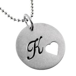 Customizable Silver Heart Cut Out Pendant Necklace