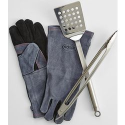BBQ Tool Set with Leather Grill Gloves