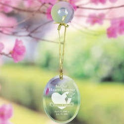 Engraved Memorial Heart and Dove Oval Suncatcher