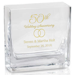 Personalized 50th Anniversary Modern Glass Vase
