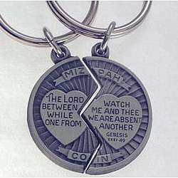 Personalized Mizpah Coin Key Ring Set