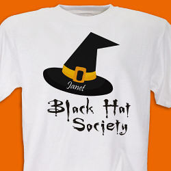 Personalized Black Hat Society Halloween T-Shirt