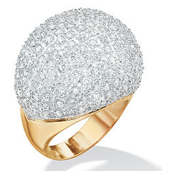 14K Gold Plated DiamonUltra Cubic Zirconia Pavé Dome Ring