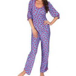Betsey Johnson Blue Dahlia Bow Pajamas