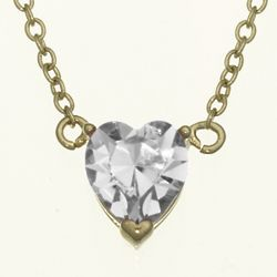 Solitaire Heart April Birthstone Pendant